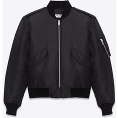 Saint Laurent Classic Bomber Jacket In Black Nylon