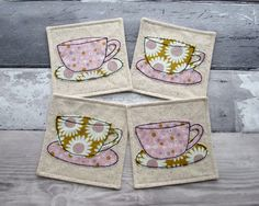 Floral Coaster Set Fabric Coasters Daisy Print Fabric