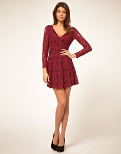 ASOS Lace Wrap Dress with Long Sleeves ($40.29)