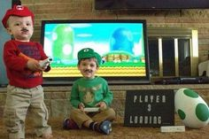 Nerdy Mario brothers baby announcement