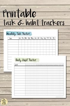 Get these printable task and habit trackers to add to your planner! Get monthly tasks done and build healthy habits each day. Planner Inserts, Planner Pages, Life Planner, Happy Planner, Printable Planner, Free Printables, Week Planner, Printable Calendars, Planner Tips