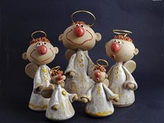 Paper Mache Crafts, Clay Crafts, Arts And Crafts, Fimo Clay, Polymer Clay Art, Christmas Angels, Christmas Art, Pottery Angels, Arte Peculiar