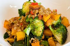 Broccoli and spinach with chilli walnut crumbs