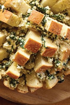 An out of this world bread, perfect for game night, or for any night that you want to indulge in cheesy Feta goodness. Spinach And Feta, Baby Spinach, Sourdough Bread, Spanakopita, Appetizers, Apps, Party Ideas, Treats, Game