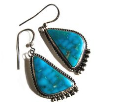 Delgarito Navajo Turquoise Earrings Vintage Sterling by Curiopolis