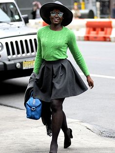 Star Tracks: Sunday, November 29, 2015 | STYLE FILE | Another day, another stylish outing for Lupita Nyong'o, who arrives to her Broadway theater in N.Y.C. on Saturday in a chic green sweater and skirt accessorized with a hat and shades.