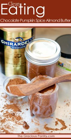 Clean Eating Chocolate Pumpkin Spice Almond Butter - Delicious on your morning toast! Dairy Free Recipes, Whole Food Recipes, Healthy Recipes, Healthy Foods, Gluten Free, Clean Eating Recipes, Clean Eating Snacks, Clean Foods, Healthy Eating