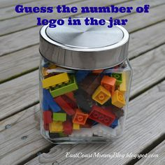 LEGO party game...  Might come in handy for the  boys. How many legos are in the jar for a prize... good idea
