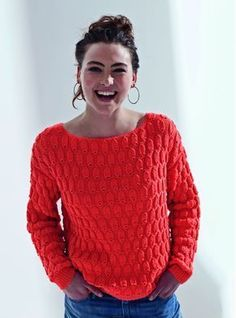 Mon pull relief orange au tricot - Knitting And Crocheting Knitting Stitches, Free Knitting, Knitting Patterns, Drops Design, Crochet Designs, Crochet Clothes, Knitwear, Knit Crochet, Sweaters For Women
