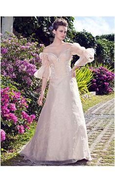 A-line Princess Strapless Floor-length Organza Wedding Dress