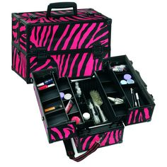 Pink Zebra Aluminum Makeup Train Case w/ Dividers. My ideal makeup case on my wish list. Makeup Storage, Makeup Organization, Makeup Suitcase, Zebra Makeup, Hair Tool Organizer, Rangement Makeup, Professional Makeup Case, Prom Makeup Tutorial, Makeup For Moms