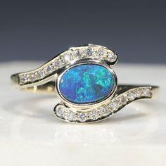 Natural Australian Black Opal and Diamond Gold Ring Size 7.25 Code - RL12 Black Opal Ring, 10k Gold Ring, Gold Diamond Rings, Opal Rings, Gold Rings, Natural Opal, Natural Diamonds, Green Opal, Blue Green