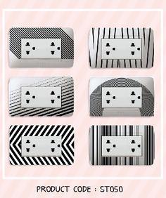 black & white theme sticker to decorate your power plug !
