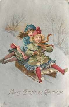 vintage two children sledding image Christmas Journal, Old Christmas, Old Fashioned Christmas, Christmas Scenes, Victorian Christmas, Xmas, Christmas Card Pictures, Vintage Christmas Images, Vintage Images