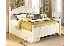 Cream Cottage Cottage Retreat Full Poster Bed with Storage View 1