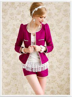 Morpheus Boutique  - Hot Pink White Edge Round Neck Long Sleeve Jacket, CA$102.55 (http://www.morpheusboutique.com/hot-pink-white-edge-round-neck-long-sleeve-jacket/)