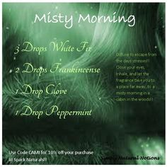 Misty Morning!! Diffuse to take you away from the days stresses! Close your eyes, Inhale, and imagine you're far http://away...in a cabin in the woods!