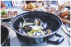 Mussels in white wine, cream  garlic, with slices of fennel, celery  onion