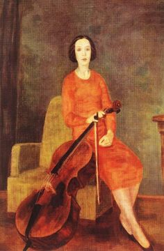 "books0977:  "" Woman Playing Cello No 2 (1937). Róbert Berény (Hungarian, Fauvism, 1887-1953). Oil on canvas.  After 1934, Berény worked in Zebegény, near the Danube Bend in northern Hungary. He was awarded the Szinnyei Prize in 1936.  During the last..."