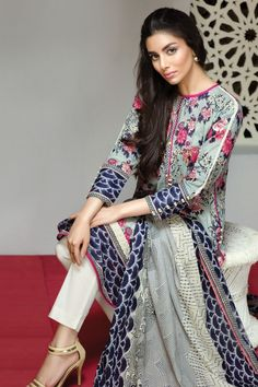 Khaadi Eid Lawn Collection Unstitched 2 Piece Suit L16306 in Grey. #LawnCollection #EidCollection2016