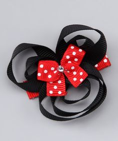 Loving this Picki Nicki Hair Bowtique Black & Red Mouse Clip on How To Make Hair, How To Make Bows, Diy Hairstyles, Pretty Hairstyles, Ribbon Bows, Ribbons, Grosgrain Ribbon, Making Hair Bows, Bow Making