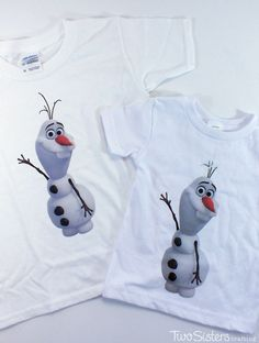 We made this DIY Olaf Shirt as a party favor for the boys at our Frozen Birthday Party using inexpensive white t-shirts and an iron-on transfer sheet.  For more fun Frozen Party Ideas, follow us at http://www.pinterest.com/2SistersCraft/