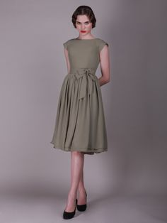 Cap Sleeved Vintage Bridesmaid Dress with Faux Buttons | Plus and Petite sizes available! Hundreds of styles, tons of colors!