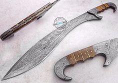 "26"" ONE OF KIND Custom Damascus Steel Full Tang falcata Sword Knife (AA-0072-27) #KnifeArtist"