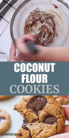 These delicious Coconut Flour Cookies are actually gluten-free clean eating paleo with even a vegan option. It's exactly what you expect from a great cookie: crisp edges chewy centers and loaded with chocolate. Coconut Flour Desserts, Coconut Flour Cookies, No Flour Cookies, Paleo Cookies, Cookies Et Biscuits, Coconut Flour Vegan Recipes, Almond Flour Brownies, Paleo Mug Cake, Quick Dessert Recipes