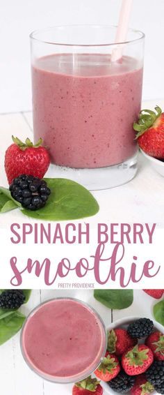 your day off with a healthy Spinach Berry Smoothie that is quick, easy and delicious. This is one of the best spinach smoothie recipes ever!Start your day off with a healthy Spinach Berry Smoothie that is quick, easy and delicious. Best Spinach Smoothie Recipe, Spinach Berry Smoothie, Berry Smoothie Recipe, Fruit Smoothie Recipes, Healthy Breakfast Smoothies, Good Smoothies, Strawberry Smoothie, Smoothie Drinks, Healthy Drinks