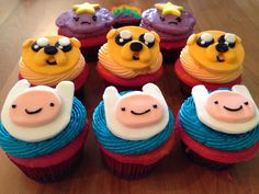 Adventure Time cupcakes   Lumpy Space Princess Jake Finn   Rainbow cake