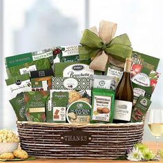 Thank You Gift Baskets - With Gratitude Wine Basket Summer Gift Baskets, Thank You Gift Baskets, Holiday Gift Baskets, Wine Gift Baskets, Summer Gifts, Honey Crunch, Wine Gifts, Party Snacks, Corporate Gifts
