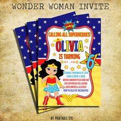 Wonder Woman Birthday Invitation - Wonder Woman Clipart Birthday Party Invite- Printable And Digital File Wonder Woman Birthday, Wonder Woman Party, Birthday Woman, Superhero Birthday Party, 6th Birthday Parties, Birthday Ideas, Baby Girl Birthday, Aaliyah, Invite