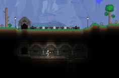 Graveyard and Catacomb close-up Terraria House Design, Terraria House Ideas, Terraria Tips, Terraria Castle, Building Games, Building Ideas, Cube Games, Catacombs, Map Art