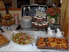food in a suitcase for bridal shower