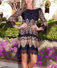 Look at this #zulilyfind! Black & Tan Filigree Lace-Trim Off-Shoulder Dress #zulilyfinds