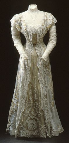 Full Length Front View ~ Dress of Queen Victoria of Sweden, 1911 From the Royal Armory and Hallwyl Museum