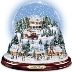 Thomas Kinkade Victorian Village Illuminated Musical Snow Globe by The Bradford Exchange