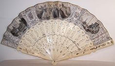 victorian fans | Victorian Italian Lithograph Foil Inlay Pierced Sticks Fan Front view.