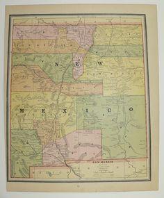 New Mexico Map Utah 1886 Southwest State Map 1800s Western Us Travel Map Southwestern