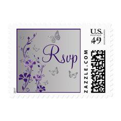 Purple, Gray Floral, Butterflies RSVP Postage