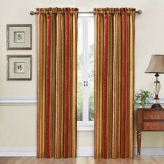 Featuring a regal strip pattern, this Traditions by Waverly Stripe Ensemble window treatment collection adds classic elegance to any room. Striped Room, Striped Curtains, Red Curtains, Colorful Curtains, Window Curtains, Waverly Curtains, Damask Curtains, Drapery, Decorative Curtain Rods