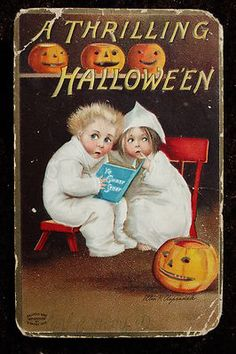 1909 HALLOWEEN Ghost Story PostCard
