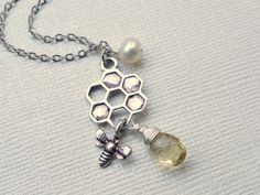 Honeycomb bee necklace bee jewelry honey by SimplyBrieDesigns, $23.50