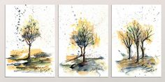 Framed Art, Framed Prints, Canvas Prints, Wall Art, Autumn Trees, Watercolor And Ink, Art Market, Christmas 2019