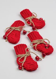 4 Pack Knitted Stocking Cutlery Holders (15cm x 7cm) - Matalan