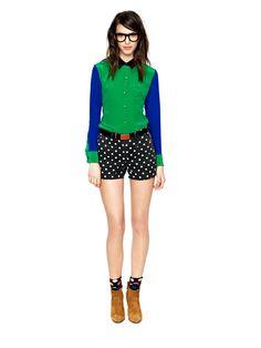 madewell dot shorts and socks, bold glasses