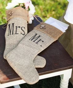 'Mr. & Mrs.' Burlap Stocking Set by Cypress Home would be a perfect start to the young couples new home, but also a way for individuals to make a 'special gift' to the couple's favorite charity in honor of their union. Just a different take on all those wedding cards one gets when walking the aisle!