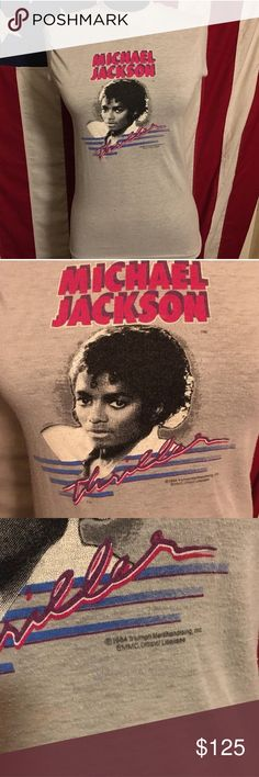 Vintage Michael Jackson Thriller shirt XS S M 80s Vintage Michael Jackson Thriller shirt from the 80s. Would fit women's XS-M Tops Muscle Tees