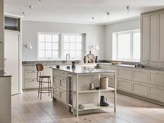 With roots in Scandinavian design we have created Nordiska Kök. Farmhouse Kitchen Cabinets, Shaker Kitchen, Küchen Design, Interior Design, Nordic Kitchen, Building A Kitchen, Kitchen Post, Timeless Kitchen, Large Kitchen Island